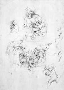 Studies for a Madonna with a cat von Leonardo Da Vinci
