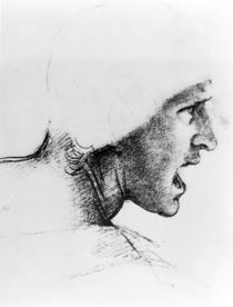 Study for the head of a soldier in 'The Battle of Anghiari' von Leonardo Da Vinci
