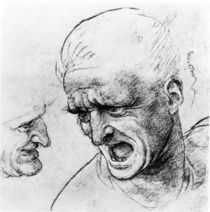 Studies for the heads of two soldiers in 'The Battle of Anghiari' von Leonardo Da Vinci
