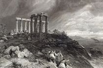 Temple of Minerva Sunium, engraved by J. Saddler by William 'Crimea' Simpson