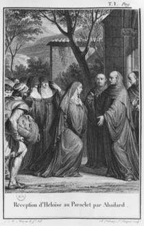 Abelard welcoming Heloise at Paraclete by Jean Michel the Younger Moreau
