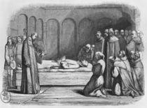 Death of Abelard, illustration from 'Lettres d'Heloise et d'Abelard' by Jean Francois Gigoux