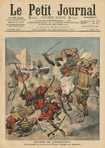 Near Casablanca, the goumiers charging at the Moroccans by French School