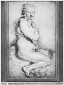 Young nude woman, seated, turned to the right von Peter Paul Rubens