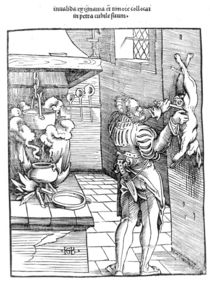 View of a sixteenth century kitchen with cook gutting a rabbit by Hans Baldung Grien