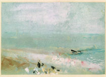 Beach with figures and a jetty. c.1830
