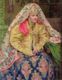 Woman in Old Russian Dress by Ivan Semyonovich Kulikov