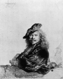 Self portrait leaning on a stone sill by Rembrandt Harmenszoon van Rijn