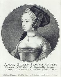 Anne Boleyn, etched by Wenceslaus Hollar von Hans Holbein the Younger