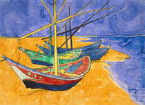 Fishing Boats on the Beach at Saintes-Maries-de-la-Mer von Vincent Van Gogh