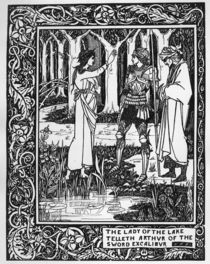 The Lady of the Lake telleth Arthur of the sword Excalibur by Aubrey Beardsley