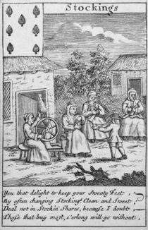 Playing Card showing workers making stockings by English School