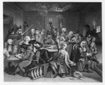 Scene in a Gaming House, plate VI from 'A Rake's Progress' von William Hogarth