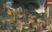 The Youth of Moses, in the Sistine Chapel by Sandro Botticelli
