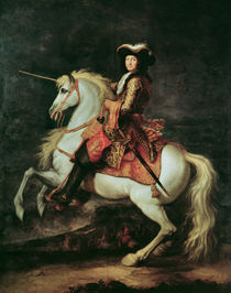 Portrait of Louis XIV on a horse by Adam Frans Van der Meulen
