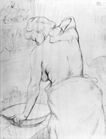 Woman washing herself at a basin by Henri de Toulouse-Lautrec