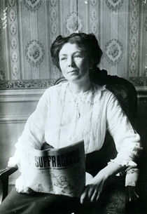 Christabel Pankhurst reading a copy of 'The Suffragette' c.1905-14 by English Photographer