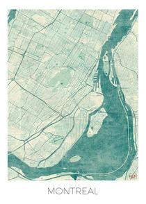 Montreal Map Blue by Hubert Roguski