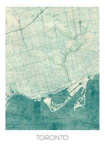 Toronto Map Blue by Hubert Roguski