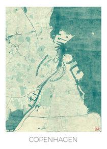 Copenhagen Map Blue by Hubert Roguski
