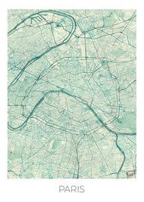 Paris Map Blue by Hubert Roguski