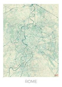 Rome Map Blue by Hubert Roguski