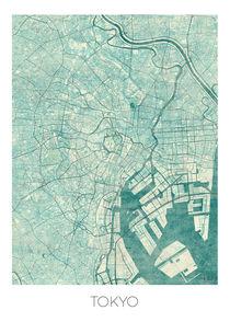Tokyo Map Blue by Hubert Roguski