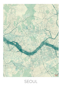 Seoul Map Blue von Hubert Roguski