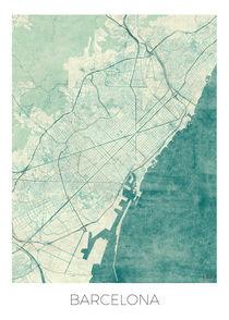 Barcelona Map Blue von Hubert Roguski