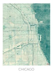 Chicago Map Blue von Hubert Roguski
