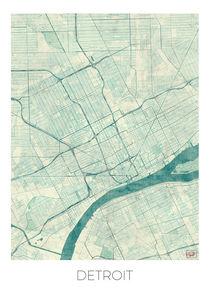Detroit Map Blue von Hubert Roguski