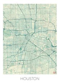 Houston Map Blue von Hubert Roguski