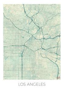 Los Angeles Map Blue von Hubert Roguski