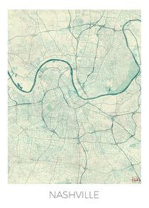 Nashville Map Blue von Hubert Roguski