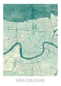 New Orleans Map Blue von Hubert Roguski
