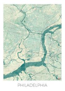 Philadelphia Map Blue by Hubert Roguski