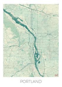 Portland Map Blue by Hubert Roguski