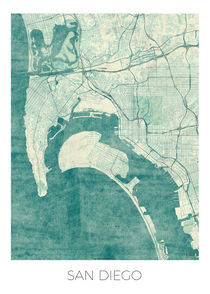 San Diego Map Blue by Hubert Roguski