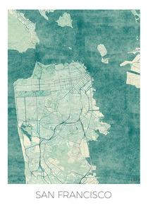 San Francisco Map Blue by Hubert Roguski