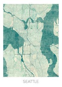 Seattle Map Blue von Hubert Roguski