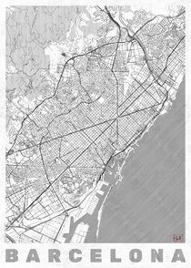 Barcelona Map Line by Hubert Roguski