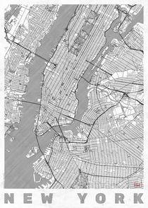 New York Map Line by Hubert Roguski