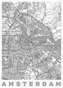 Amsterdam Map Line by Hubert Roguski