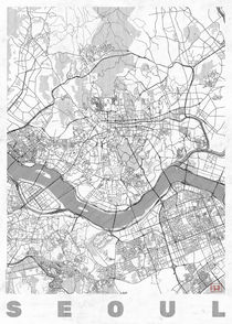 Seoul Map Line by Hubert Roguski