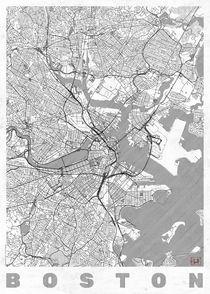 Boston Map Line by Hubert Roguski