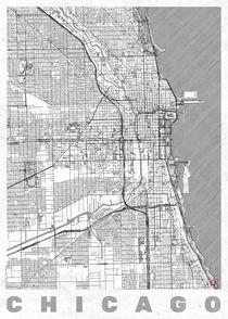 Chicago Map Line by Hubert Roguski