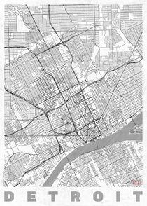 Detroit Map Line by Hubert Roguski