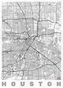 Houston Map Line by Hubert Roguski