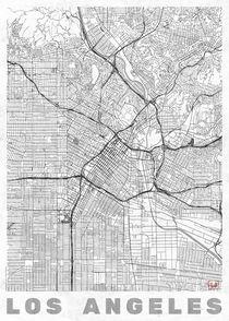 Los Angeles Map Line by Hubert Roguski