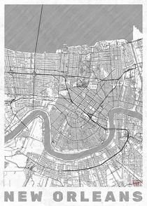 New Orleans Map Line by Hubert Roguski